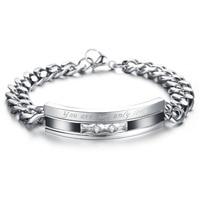 Top Grade Stainless Steel Crystal Couple Bracelet 4