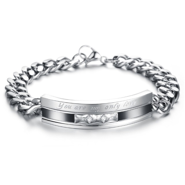 Top Grade Stainless Steel Crystal Couple Bracelet 4