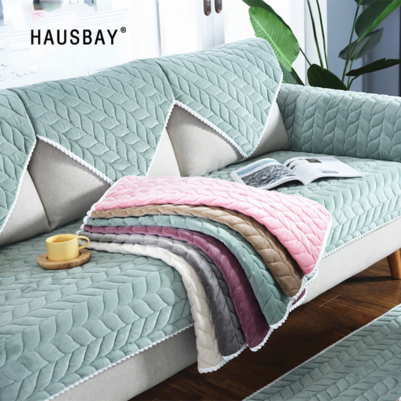 Sofa Seat Cover Sectional Sofa Mat Plush Thicken All-inclusive Sofa Towel Solid Color Sofa Pad SM001