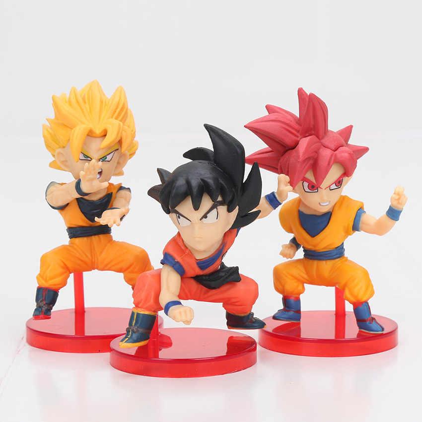 10 шт./компл. Dragon Ball Z Набор фигурок Dragon Ball WCF Супер битва сайянов God Goku красные синие волосы ПВХ Фигурки Модель игрушки