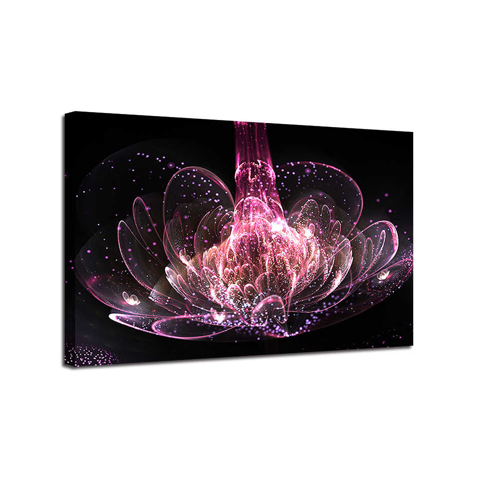 Lienzo impresión HD póster pared arte marco 1 pieza riqueza y lujo púrpura agua lirio flores pinturas abstractas hogar decoración