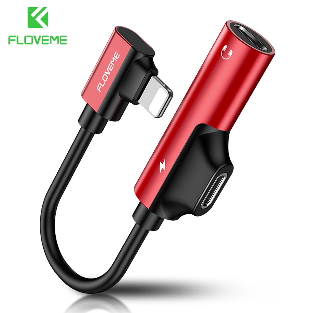 FLOVEME 2 In 1 For Lightning To 3.5mm Audio Adapter Jack Charging Converter For IPhone 7 8 X Cable Splitter Headphone USB Adapte