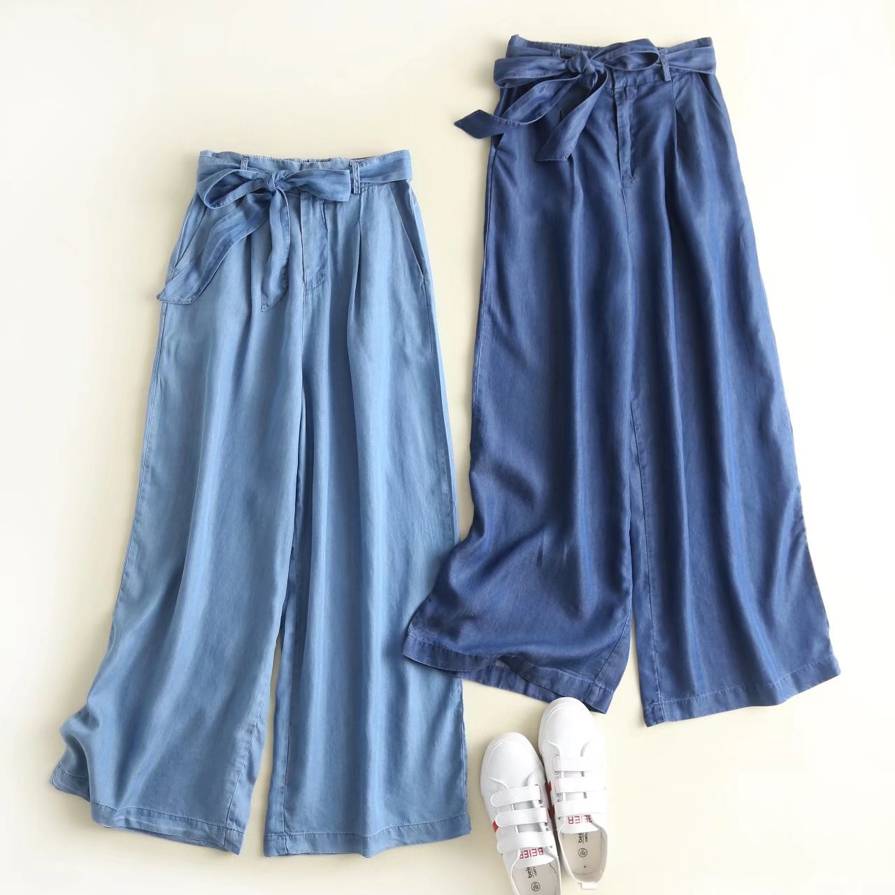 Women's   pant   girl wholesale 2018 summer new star with the same section of semi-elastic waist tie Tencel denim   wide     leg     pants