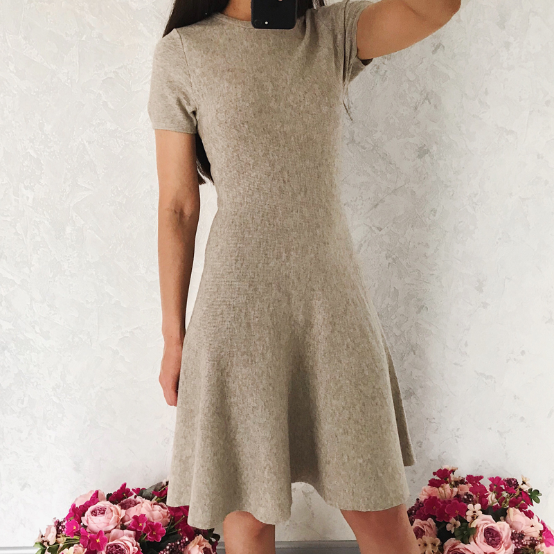 Women dress knitted sweater dress and solid color dress casual round neck short sleeve dress