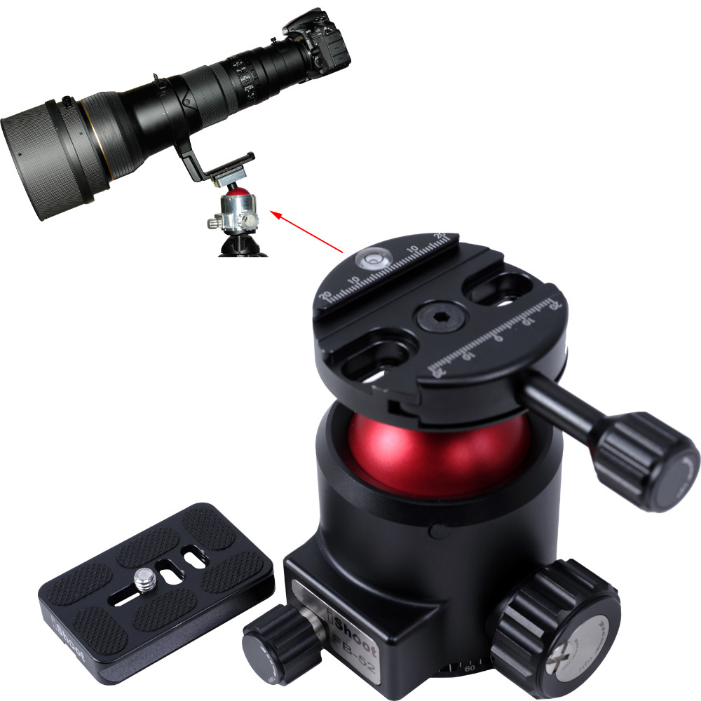 Heavy-Load Ball Head Strong Ballhead + Camera Quick Release Plate with Panoramic Panning Panorama Base MAX.LOAD 30KG for Tripod new 360 degree panoramic panorama ballhead clamp 10 indexing head rotator with quick release plate for camera tripod head