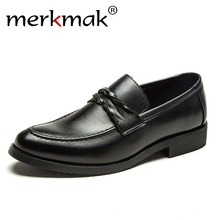 Купить с кэшбэком merkmak NEW Brand Men Shoes High quality all Black Men's leather Business shoes Fashion Breathable Sneakers Luxury Leather Shoes