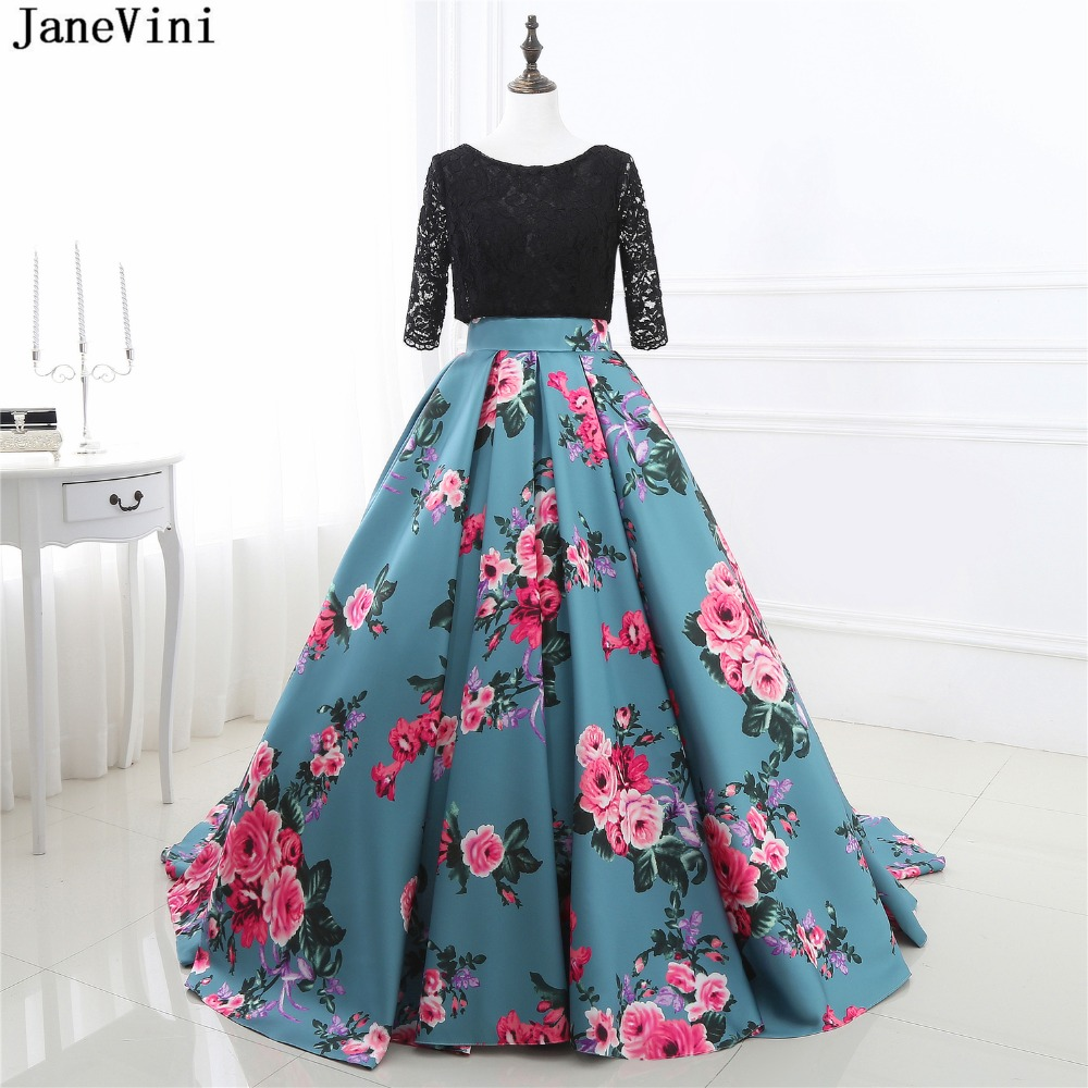 JaneVini 2018 Vintage Ball Gown Long   Bridesmaid     Dresses   Scoop Neck Half Sleeves Floral Print Backless Satin Formal Party Gowns