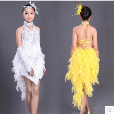 5dbf3253a3b1 New child latin dance costume sequin tassel Feather child latin dance dress  children tanggo latin dance competition dresses