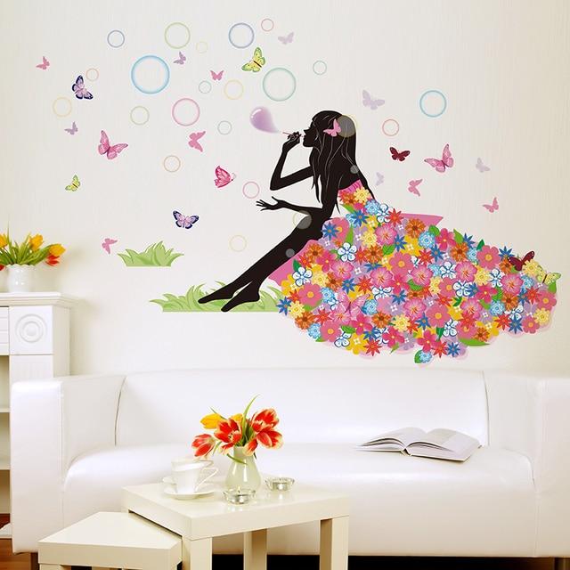 girl wall sticker flower butterfly bubble vinyl girl wall sticker