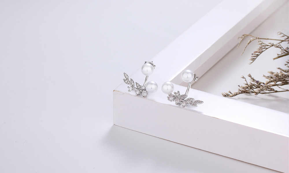 קוריאה נשים Stud עגיל 925 כסף סטרלינג עם 5A כיתה מעוקב זירקון פרל אוזן Brincos חתונה מסיבת אביזרי מתנה