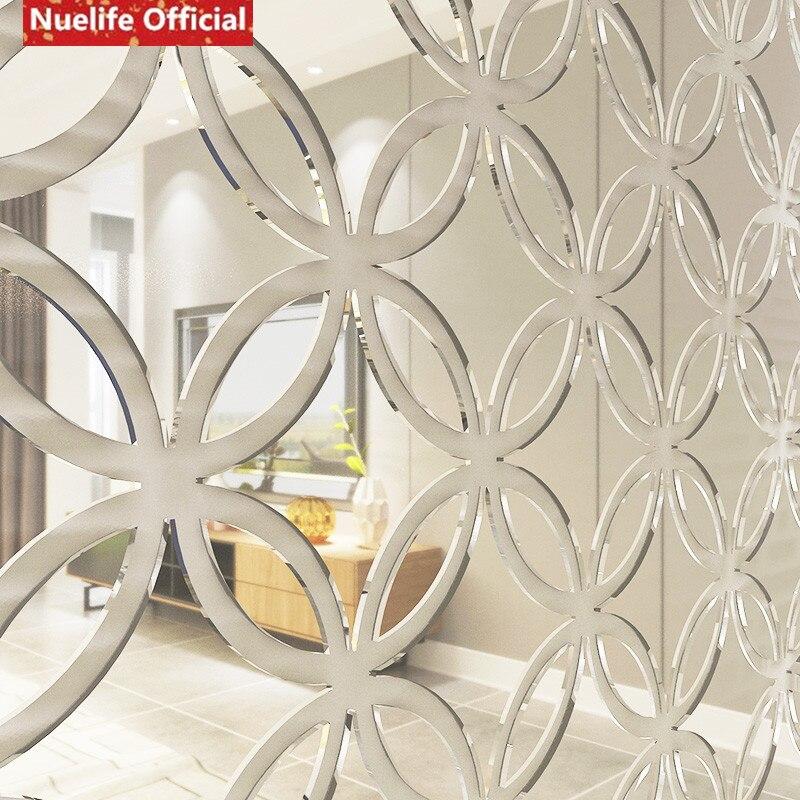 Círculo estilo chino cobre patrón de dinero espejo adhesivo Sala dormitorio fondo de sofá, televisión u oficina pegatina espejo decorativo - 4