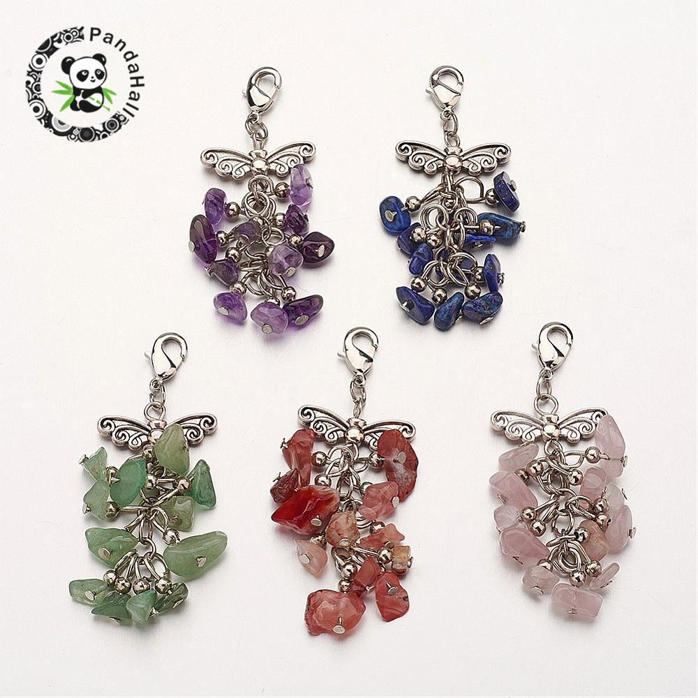 natural stone big pendants, cluster pendants, with alloy pendants and brass lobster claw clasps, mixed metal color, butterfly,