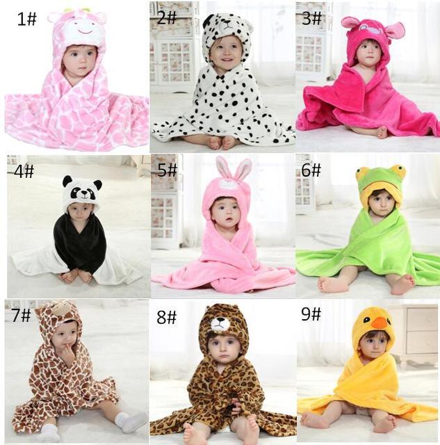 US $49 29 7% OFF|Cute Kids Animal Bathrobe Baby Bath Towels Fleece Stock  Cheap Poncho Hooded Beach Towel Cow Cartoon Swim Towels Wrap Blanke-in
