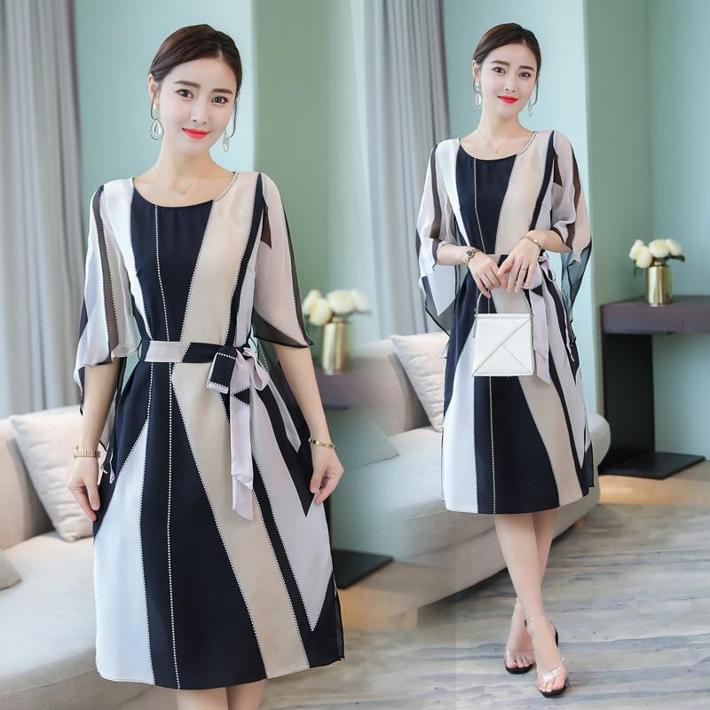 the summer of 2018 ladies dress han edition temperament show thin stripes in the new long emulation silk chiffon dress ...