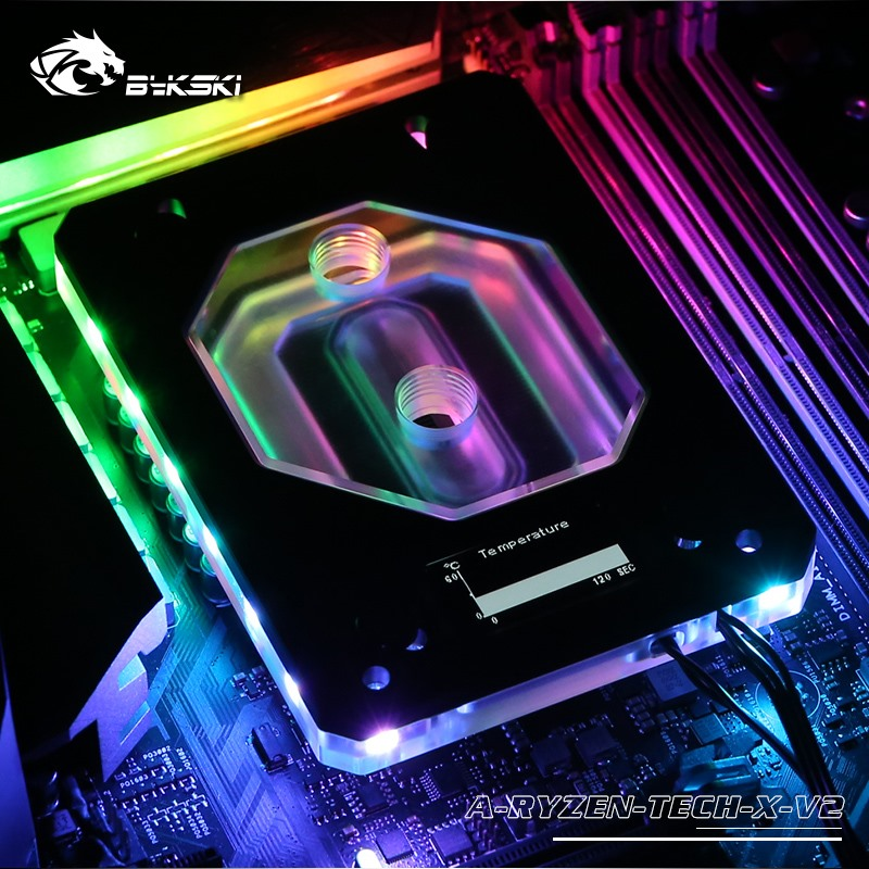Image 5 - Bykski CPU Water Copper Block use for AMD RYZEN3000 AM3/AM4/TR4/1950X/X399 X570 Motherboard 5V A RGB Temperature Display OLED-in Fluid DIY Cooling from Computer & Office