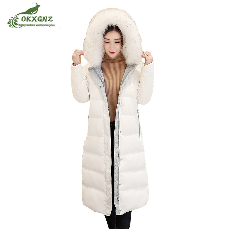 High quality winter down cotton coat female medium long Hooded collar jacket coat new women white duck down jacket OKXGNZ AF353 top quality fashion parent child 90% white duck down jacket medium long mother and son hooded cotton padded down family coats