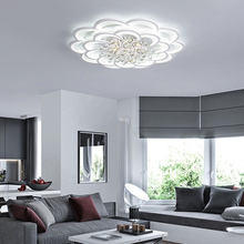 LED crystal Chandeliers Dimmable Remote dimming Modern living room bedroom flower Circular lights K9 indoor fixtures