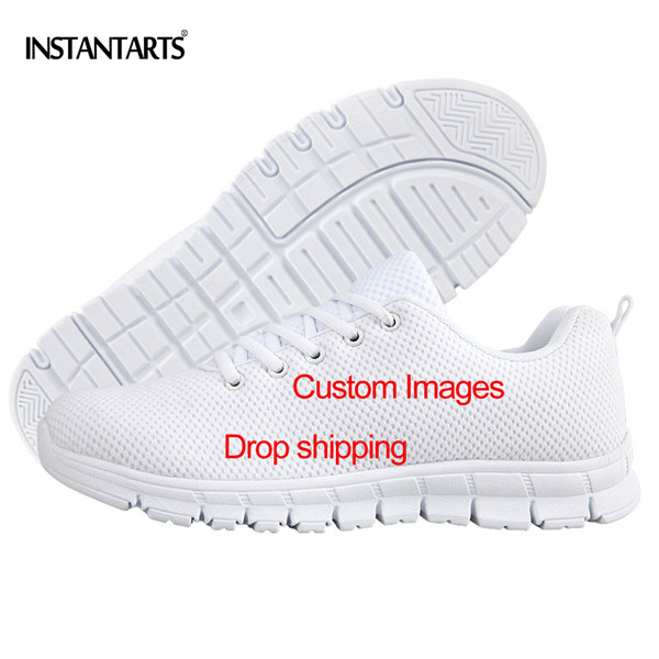 INSTANTARTS Custom DIY Image Men Casual Shoes Comfort Male Lace Up Flat Shoes 3D Print Customize Your Name/Logo Mesh Sneakers