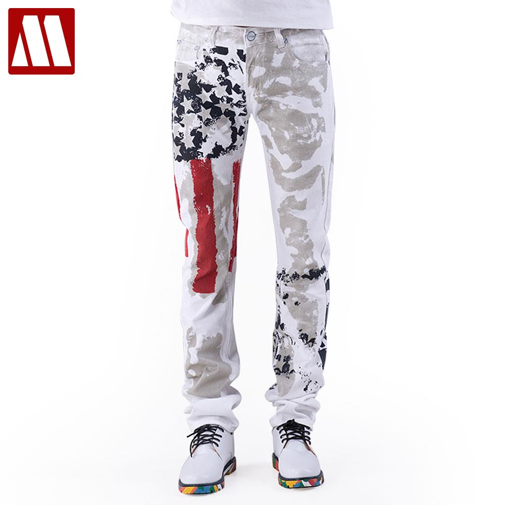 American Flag Men Jeans 2019 New Arrival Floral Print Straight Jean Stars and Stripes Pant USA Flag Fashion Cotton Pants for Man