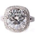 Diseño exclusivo 5 Carat ct F-H Color Boda Con Acentos de Diamante de Compromiso Moissanite 14 K 585 Oro Blanco Para La Joyería anillo