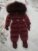России детская зимняя для мальчиков и девочек зимний комбинезон для Белые куртки пуховики общая дети из натурального меха енота с капюшоно