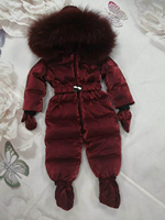 Russia Winter Kids Girls Boys Snowsuit Jumpsuit Baby White Duck Down Jackets Overall Children Real Raccoon Fur Hooded Rompers