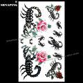 SHNAPIGN Сексуальная Роза скорпиона, временная татуировка, боди-арт, вспышка на руку, стикер татуировки s 17*10 см, водонепроницаемая поддельная хн...