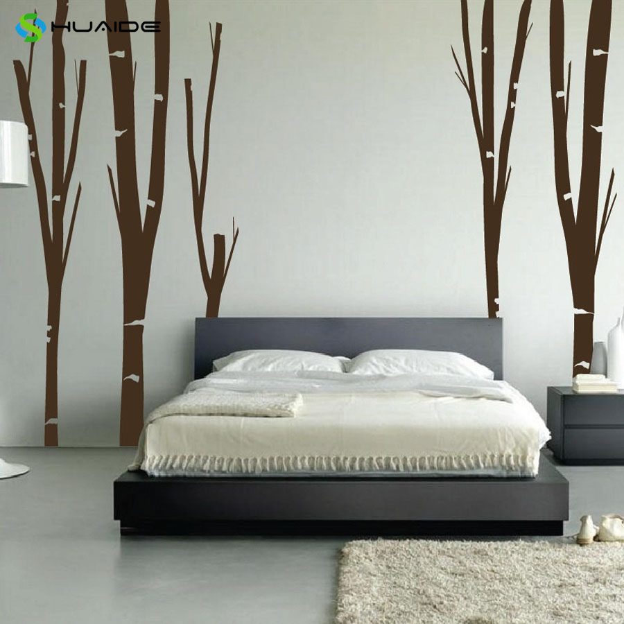 Bedroom wall art trees - Oversize Birch Tree Wall Decal Forest Kids Nursery Vinyl Wall Sticker Removable Bedroom Wall Art Home