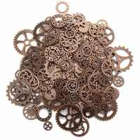 120g About 100pcs/lot Vintage Metal Mixed Gears Jewelry Making Diy Steampunk Gear Pendant Charms Bronze Bracelet Accessories