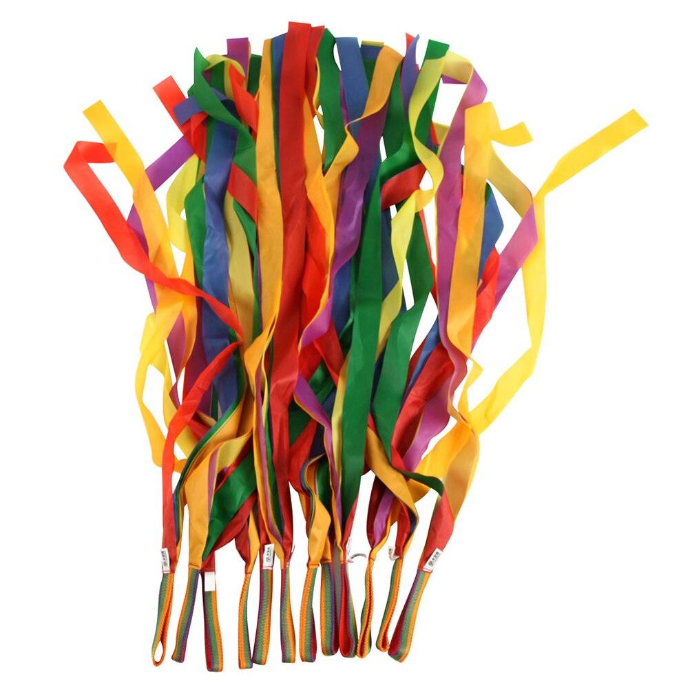 Set of 4pcs Rhythmic Gymnastics Brocade Ribbons with Wood Handles 4 Meters