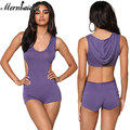 Sexy Vogue Bodysuit Women Purple Black Jersey Knit Cut Out Hoodie Romper Style Fitness Jumpsuit Combishort