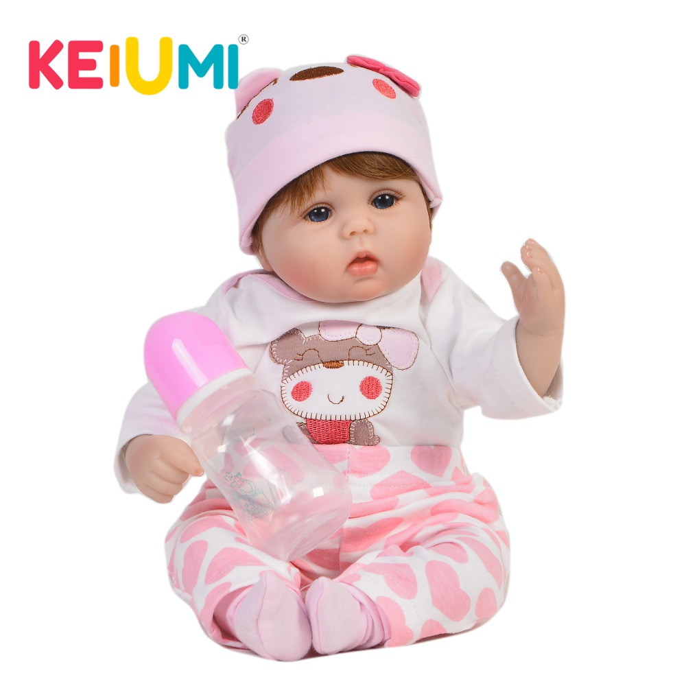 KEIUMI Lovable 17'' Reborn Dolls Babies Soft Silicone Body Fashion 43 cm Baby Girl Toy Stuffed PP Cotton Baby Reborn Playmates-in Dolls from Toys & Hobbies    1