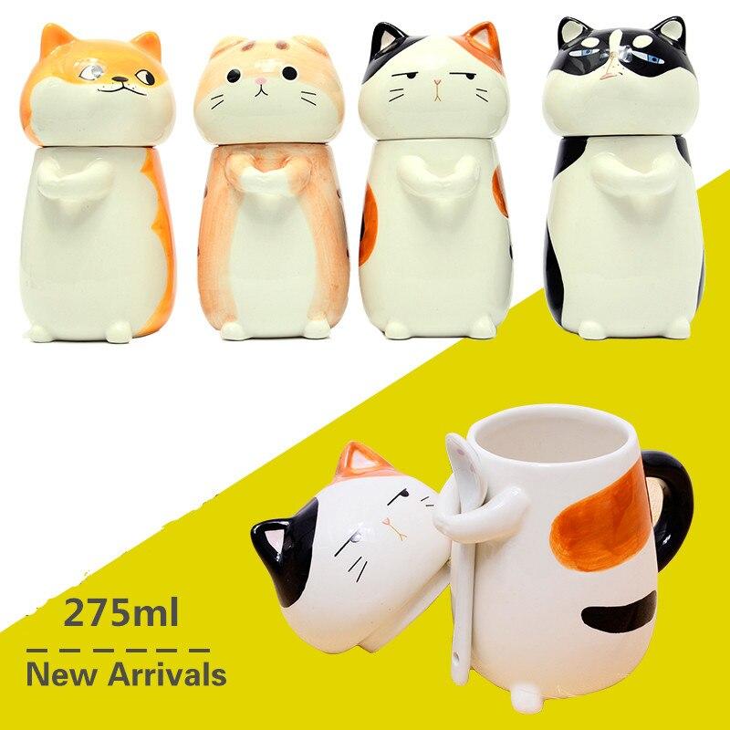 Cartoon Tasse 400 ml Husky Keramik Persönlichkeit Becher mit Löffel Milch Tassen Büro Kaffee Becher Nette Kreative Becherschale Frühstück becher