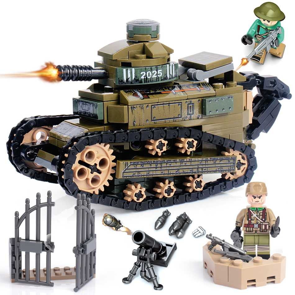 368PCS building blocks compatible army soldiers military Renault FT17 tank weapon brick children educational toys