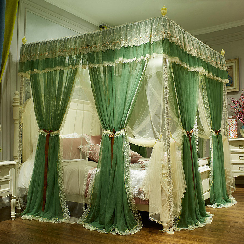 Green Pink Gray Red Double-deck Romantic White Lace Luxury Court Style Three-door Square Floor-standing mosquito net bedding setGreen Pink Gray Red Double-deck Romantic White Lace Luxury Court Style Three-door Square Floor-standing mosquito net bedding set