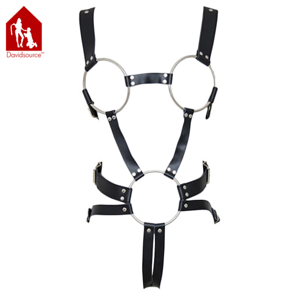 Davidsource Metal Breast Loop Open Crotch Leather Harness Jockstraps Female Leather Restraint Sexy Toys