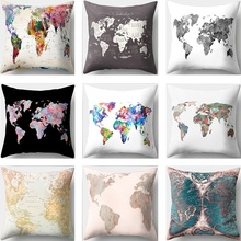 World Map Printed Pillow Covers Decoration Square Pillow Cushion Covers 45x45cm Polyester Sofa Pillowcase Home Decor creative coffee bean world map pattern square shape flax pillowcase without pillow inner