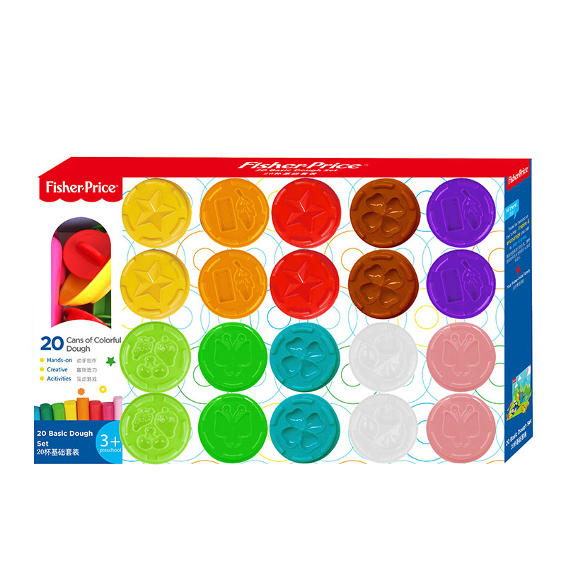 100FUN 20 Cups Basic Set Color Clay Children's Teaching Cognitive Early Education Toys DIY Creative