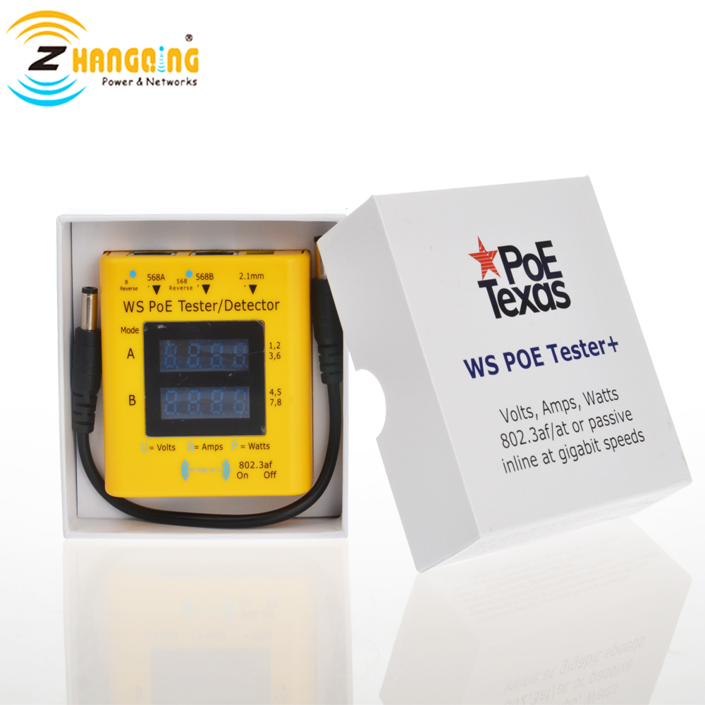 PoE-Tester for PoE, display from 20v to 56 volts, 0-5 amps, and actively used power in 802.3af, 802.3at 10/100/1000 data rates PoE-Tester for PoE, display from 20v to 56 volts, 0-5 amps, and actively used power in 802.3af, 802.3at 10/100/1000 data rates