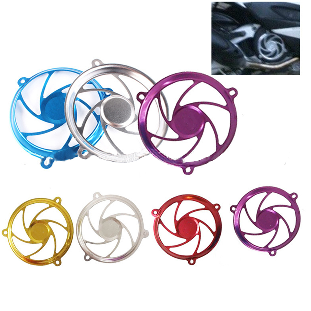 Aluminum Alloy Motorcycle Motorbike Refit Assembly Fan Cover Wheels Pattern Decorative Fan Cover