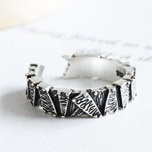 punk hiphop rock pattern statement ring 925 solid sliver vintage adjustable for women ladies finger knuckle jewelry KJZ384