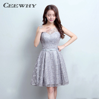 Ceewhy gray o neck appliques knee length prom dress formal gowns lace dress elegant short cocktail.jpg 200x200