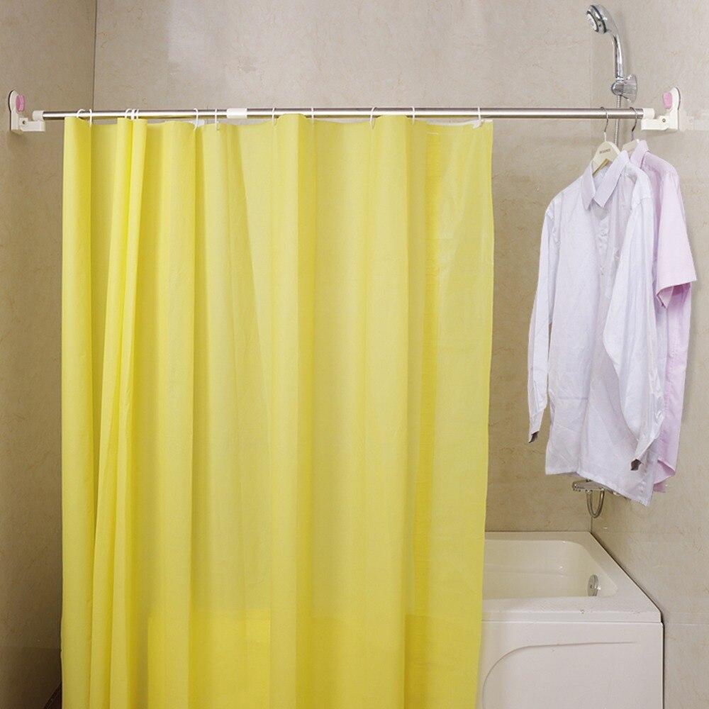 Extendable Telescopic Shower Curtain Rail U//L-Shaped Bathroom Suction Cups Rod