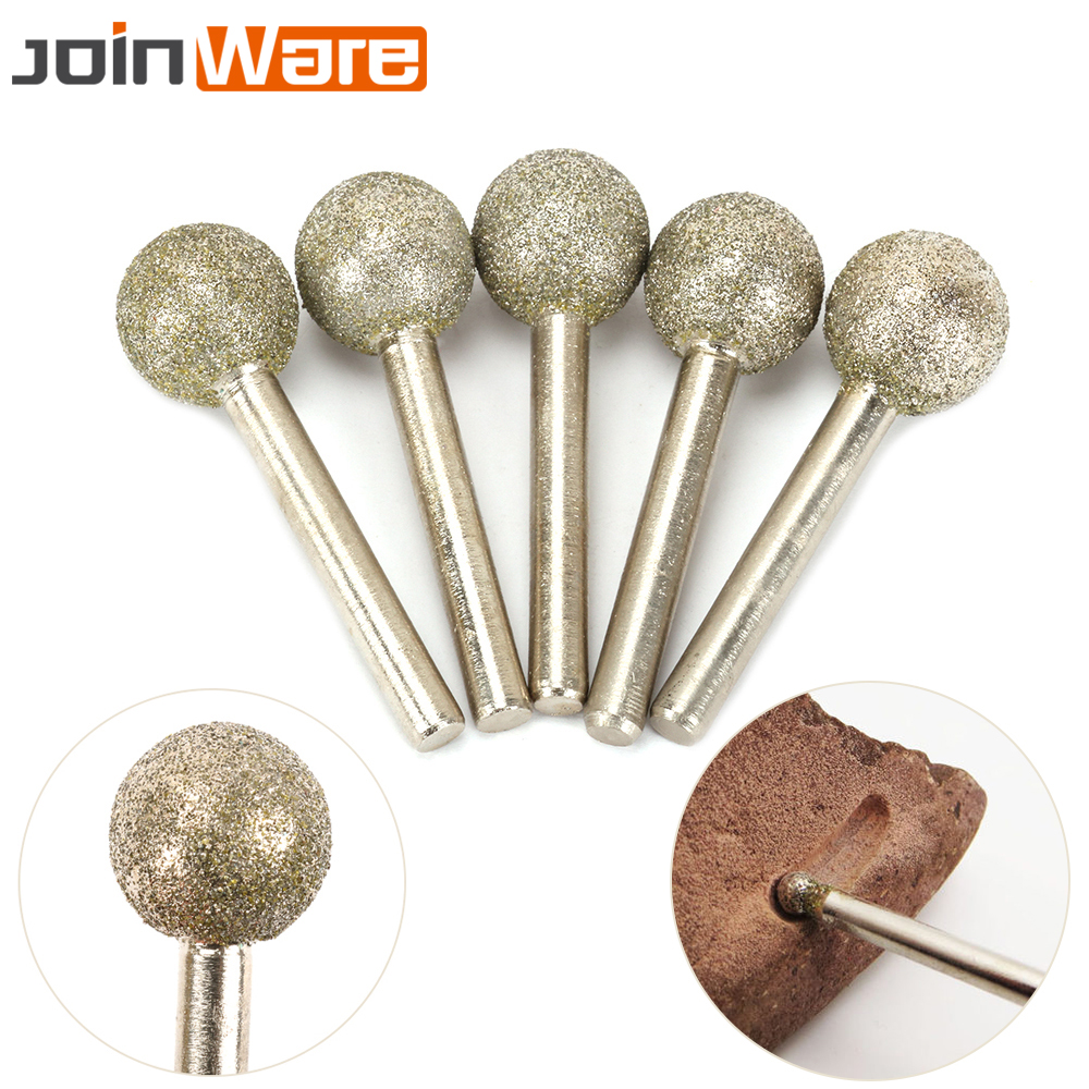 5Pcs 20MM Head Dia 6MM Shank 60# Spherical Diamond Coated Grinding Head Round Ball Shape Engraving Abrasive Burrs Rotary Tools цены