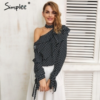 Simplee One Shoulder Polka Dot Blouse Shirt Ruffle Lantern Sleeve Vintage Chiffon Blouse Sexy Bow Women