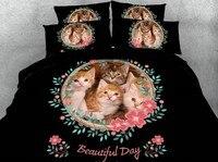 Набор постельных принадлежностей с принтом кота, набор роскошных 3D пододеяльников, хлопковые простыни, размер Cal King queen, полное двойное одея
