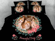 Cat printed Comforter sets Bedding set Luxury 3D Duvet cover Cotton bed sheets Cal King Queen size full twin doona quilt 5pcs цена