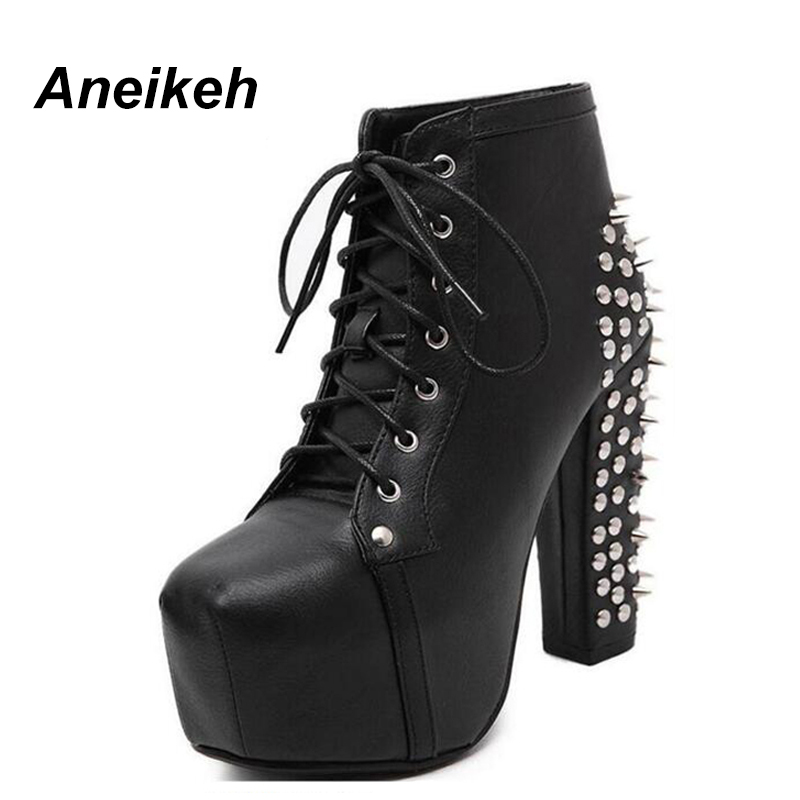 Aneikeh Women Rock Punk Spikes Rivets Ankle Boots Biker Lita Platform Chunky Block Ultra High Heel Bota Shoes High Top D- 456-3 цены