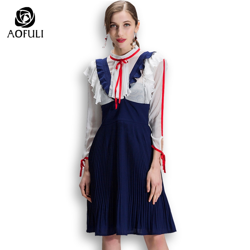 AOFULI S- xxxl 4xl 5xl Elegant Ladies Two Piece Dress Suit Plus Size Womens  Set Chiffon Tops Ruffles Suspender Dress Outfit 9023 cea7e4b8212a
