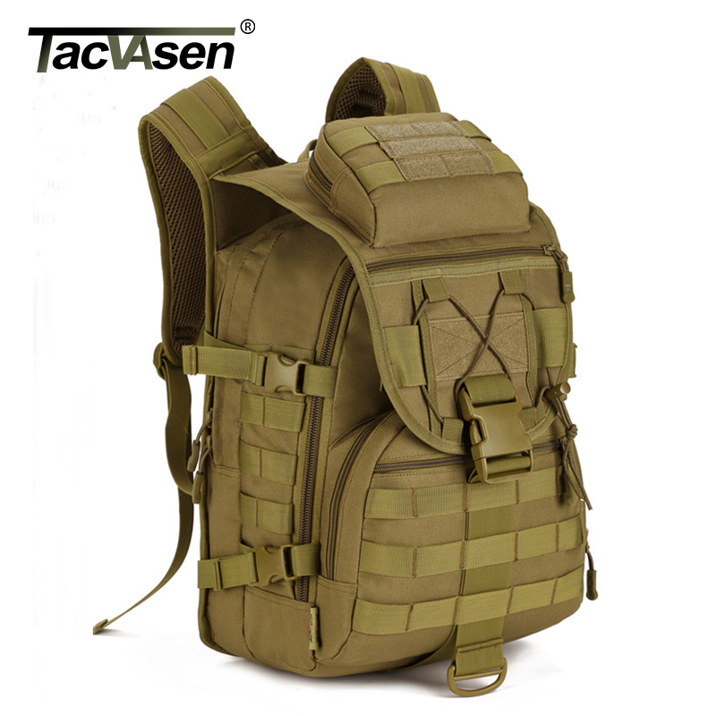 TACVASEN Men's Military Backpack Camouflage Laptop Bags Waterproof Travel Backpack 40L Army Soldier Combat Knapsack TD-SHZ-010 tacvasen men s tactics backpack travel shoulder bags camouflage rucksack 15 6 inches laptop camera military bag td szlm 017